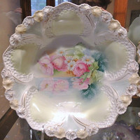 RS Prussia Bowl 1900s Antique Porcelain Victorian Art Nouveau Cottage Chic Home Wedding Decor Germany Reflecting Poppies Daisies Honeycomb