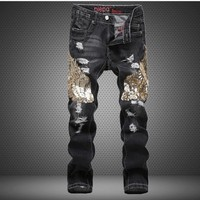Ripped Holes Style Stylish Club Pants Hot Sale Straight Jeans [6544719491]
