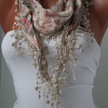 Beige Shawl Scarf - Headband - Cowl with Lace Edge - Spring Trends
