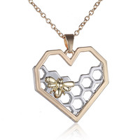 Fashion antique silver gold plated heart pendant necklace necklaces bee and honeycomb shaped Valentine's day gifts