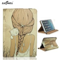 PU Leather Case For Apple iPad Air 2 iPad 6 For iPad mini 1 2 3 Stand Smart Tablet PC Case Cover Cute Cartoon Girl and Cat 2016
