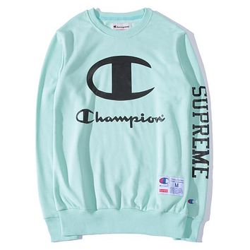 Supreme X Champion Sweater Women Men Lover Casual Long Sleeve Plus Velvet Hooded Top Pullover Hoodie