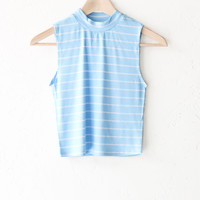 Striped Mock Neck Crop Top - Baby Blue