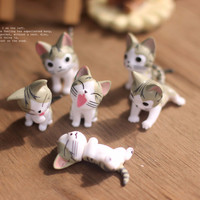 Small Ornament Landscape Mini Cats Micro Models For Garden Ornaments 6 Cats For Potted Home Bonsai Decor Gardening Tools