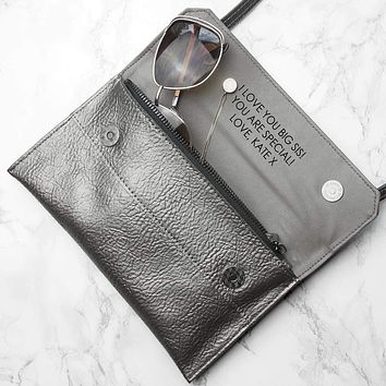 Personalized Wallets Metallic Leather Clutch Bag