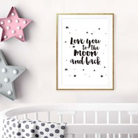 Love You To The Moon And Back Romantic Canvas Art Print Painting Poster Wall Pictures For Bedroom Kids Home Decoration No Frame