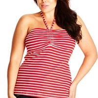 Plus Size Women's City Chic Strappy Gathered Halter Top,