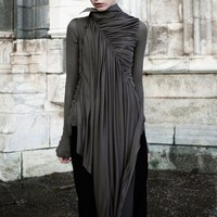 High quality black zipper Gothic Wrap dress(Top Only)