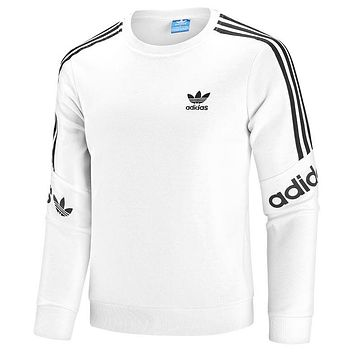 ADIDAS Tide brand cotton men and women wild round neck long-sleeved sweater White