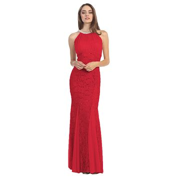 Mermaid Flair Skirt Lace Evening Gown Red Pearl Necklace