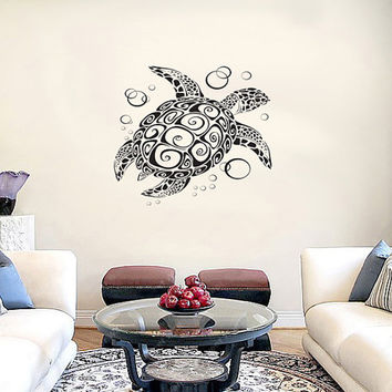 Sea Turtle with Bubbles Vinyl Wall Decal