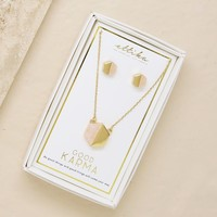 Good Karma Rose Quartz and Gold Hexagon Necklace & Earring Stud Boxed Set