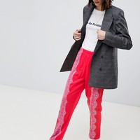 ASOS Track Pant Trousers with Lace Detail at asos.com