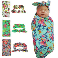 Newborn Swaddle & headwrap Hospital Swaddled Set Floral baby swaddle set Headband Baby photo prop Top knots 1pc HB568 HB601
