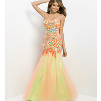 (PRE-ORDER) Blush 2014 Prom Dresses - Tangerine & Lime Strapless Embroidered Long Prom Gown