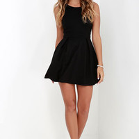 Cutout and About Black Skater Dress