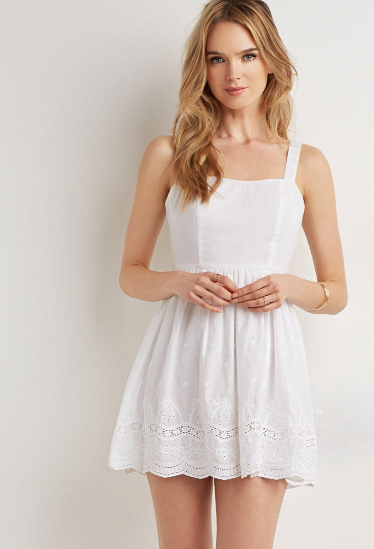 Scalloped Floral Eyelet Dress Dresses From Forever 21