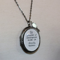 Oscar Wilde Quote Necklace, Quote Locket, Quote Necklace, Be Yourself Quote, Oscar Wilde, Oscar Wilde Quote, Literary Jewelry, Silver Locket