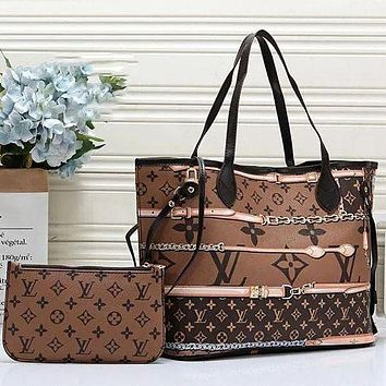 LV Louis Vuitton Classic Two-piece Set Large-capacity Check Print Tote Bag Coin Purse Fashion Ladies Handbag Shoulder Bag