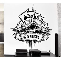 Wall Decal Gamer Skull Dice Game Card Casino Gambling Luck Vinyl Decal Unique Gift (ed345)