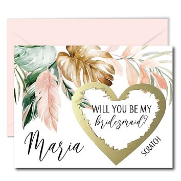 Tropical Will You Be My Bridesmaid Scratch Off Cards