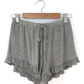 Ruffle Trim Shorts - Gray
