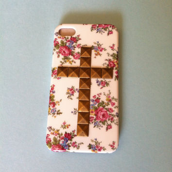 Cross Studded White Floral Hard Case IPhone 4 4S