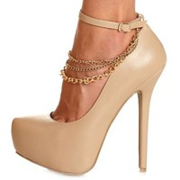 Chain Anklet & Ankle Strap Platform Pumps by Charlotte Russe - Nude