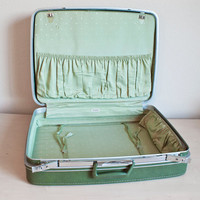 Samsonite Fashionaire Large Forest Green Suitcase with Mint Polka Dot Interior, Vintage Travel Luggage Home Decor