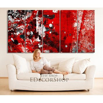 5 Panel Abstract Red and Black Canvas Printing XXL Wall Art Canvas Painting