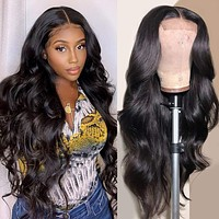 Fle Hair 4X4 Lace Front Wigs Brazilian Body Wave Human Hair Wigs for Black Women 150% Density Pre Plucked with Baby Hair Natural Black (24 inch, Lace Frontal Wigs) 24 Inch