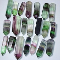 3pcs Natural Purple and Green Fluorite Quartz Crystal Point