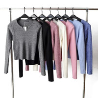 Plain V-Neck Long-Sleeve Knitted Sweater