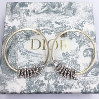 Dior New fashion diamond letter round long earring women