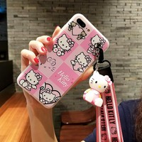For iPhone 8 plus pink case 8 squares hello kitty cover for iPhone X/6 6s plus case for iPhone 7 plus + 3D holder + 2strap