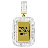 Mens Icy Dog Tag Baguette Bling Picture Memory Silver Pendant