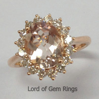 Oval Morganite Engagement Ring Diamond Halo 14K Rose Gold 7x9mm Flower Design