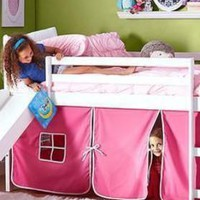 Elena Loft Bed with Slide and Pink Tent