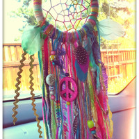 Mini 3.5 Inch Woven Dreamcatcher for Your Rearview Mirror. Dreamcatcher for Your Car. Hippie Rainbow Dreamcatcher with Feathers & Charms