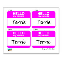 Terrie Hello My Name Is - Sheet of 4 Stickers