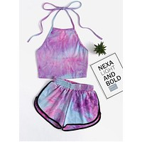 Summer Popular Women Cute Halter Tie-Dyed Print Rainbow Color Sleeveless Backless Crop Top Shorts Two Piece Set Purple I12323-1