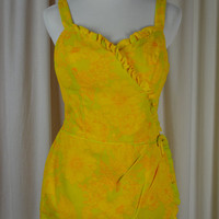 Vintage Romper, Yellow Romper, Yellow Bathing Suit, Cotton Swimsuit, Floral Bathing Suit, Floral Romper, Matching Cover Up, Size Large, 40C