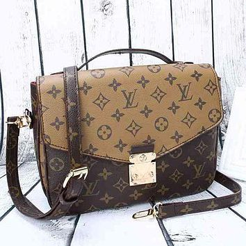 LV Louis Vuitton Women Leather Crossbody Shoulder Bag Satchel Square