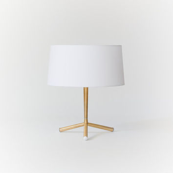 Golden table lamp, made of solid brass tube