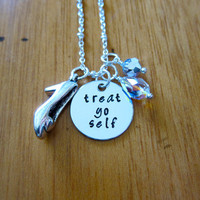 Treat Yo Self Necklace. Shopaholic necklace. Swarovski Crystals. Silver colored. Hand Stamped. For women or girls.