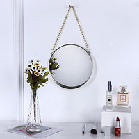 Bathroom Wall-Mounted Wash Face Mirror, Household Simple Wrought Iron Makeup Mirror, Bathroom Mirror, Dressing Table, Decorative Hanging Mirror