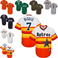 White blue orange Throwback Craig Biggio Jersey , Men's #7 Mitchell And Ness MLB Houston Astros
