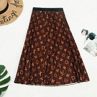 Louis Vuitton LV Newest Popular Women Letter Print High Waist Coffee