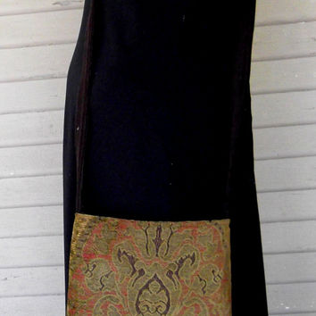 Gypsy Bag with Brass Beads   Tapestry Rust and  Green Chenille Hippie Bag  Boho Bead Bag  Cross Body Bag
