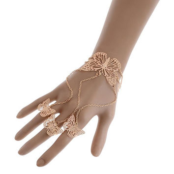 Fashion Gold/Silver plated bracelet ring connected women Fashion hand cuff Jewelry ring bracelet butterfly  palm cuff